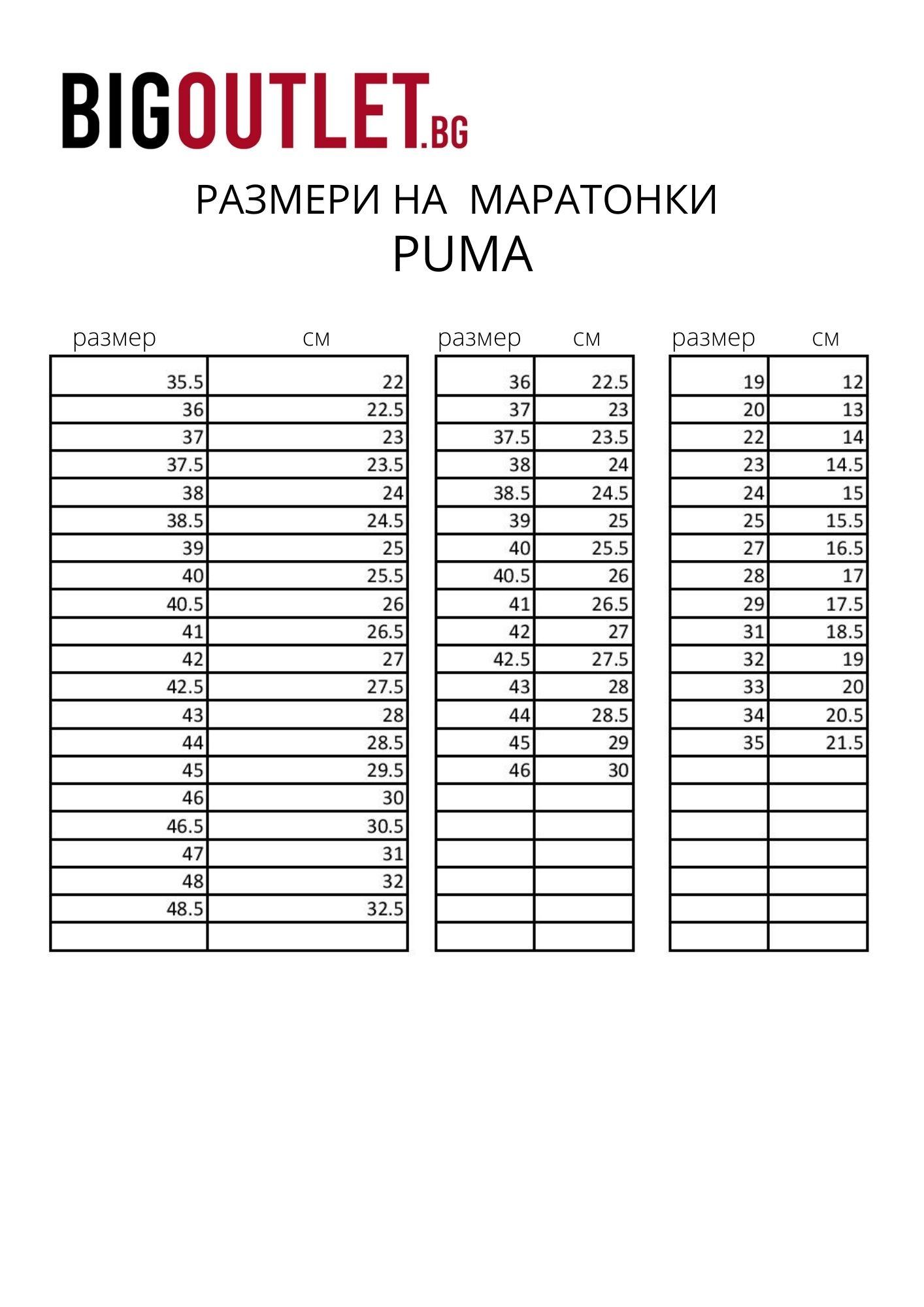 Размери PUMA